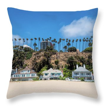 Throw Pillow featuring the photograph Santa Monica Beach Front by Michael Hope