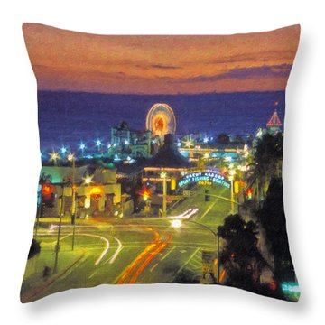 Throw Pillow featuring the photograph Santa Monica Ca  Pacific Park Pier by David Zanzinger