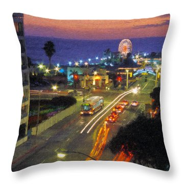Throw Pillow featuring the photograph Santa Monica Ca Pacific Park Pier  Sunset by David Zanzinger