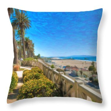 Santa Monica Ca Palisades Park Bluffs Gold Coast Luxury Houses Throw Pillow by David Zanzinger