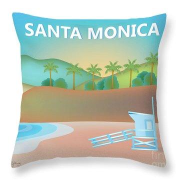 Santa Monica California Horizontal Scene Throw Pillow