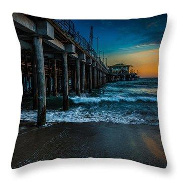 Santa Monica Pier At Sunset Throw Pillow