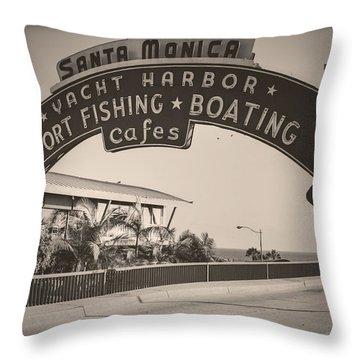 Santa Monica Sign Series Modern Vintage Throw Pillow