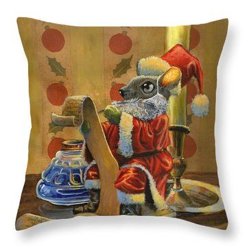 Santa Mouse Throw Pillow by Jeff Brimley