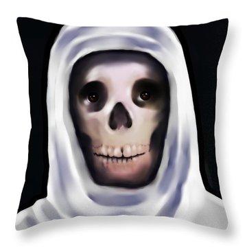 Santa Muerte Throw Pillow by Carmen Cordova