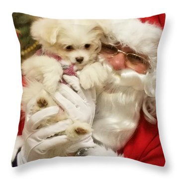 Santa Paws  Throw Pillow by Darren Robinson