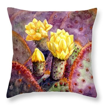 Throw Pillow featuring the painting Santa Rita Prickly Pear Cactus by Marilyn Smith