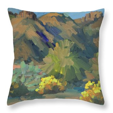 Throw Pillow featuring the painting Santa Rosa Mountains And Brittle Bush by Diane McClary