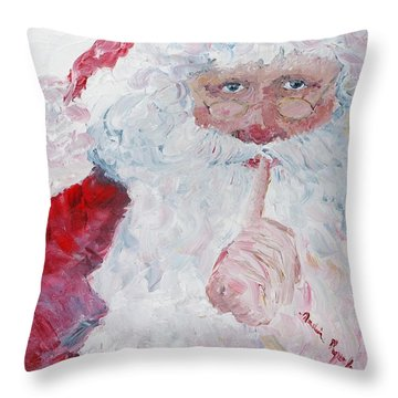 Santa Shhhh Throw Pillow by Nadine Rippelmeyer