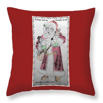 Throw Pillow featuring the photograph Santa Sketch by Ellen O'Reilly
