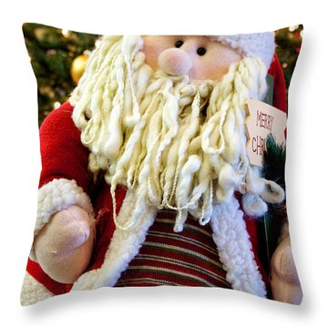 Santa Takes A Seat Throw Pillow