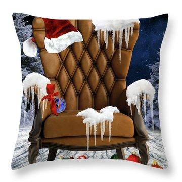 Santa's Chair Throw Pillow by Mihaela Pater