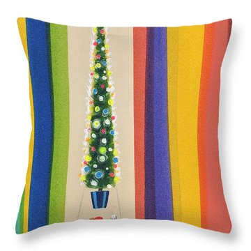 Santa's Christmas Tree Throw Pillow by Stanley Cooke
