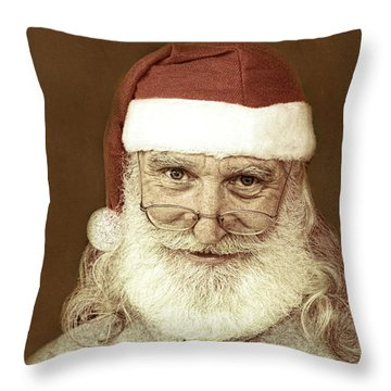 Santa's Day Off Throw Pillow by Linda Phelps