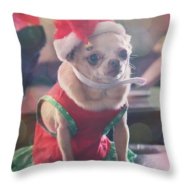 Throw Pillow featuring the photograph Santa's Little Helper by Laurie Search