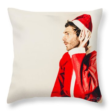 Throw Pillow featuring the photograph Santas Little Helper Listening To Christmas Orders by Jorgo Photography - Wall Art Gallery