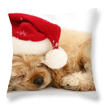 Santa's Sleepy Spaniel Throw Pillow