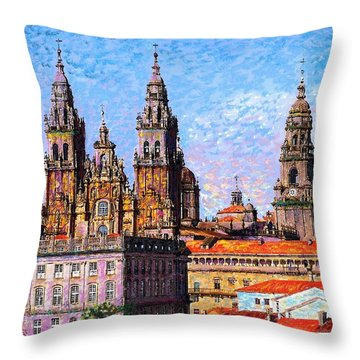 Santiago De Compostela, Cathedral, Spain Throw Pillow by Jane Small