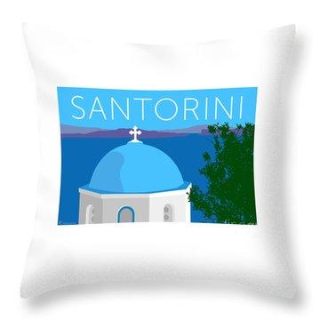 Throw Pillow featuring the digital art Santorini Dome - Blue by Sam Brennan