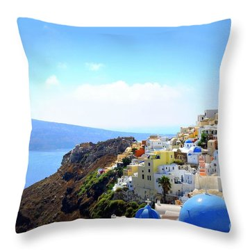 Santorini Blues Throw Pillow
