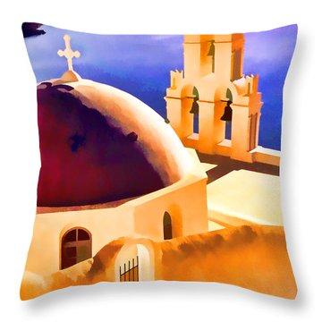 Santorini Church Throw Pillow by Dennis Cox WorldViews
