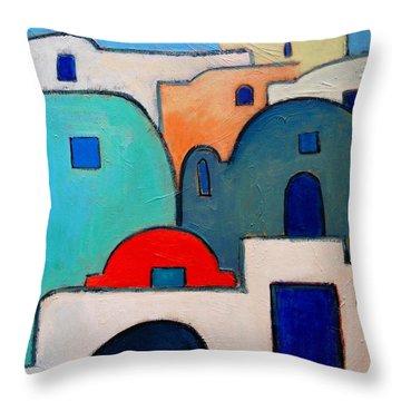 Santorini Cityscape Throw Pillow by Ana Maria Edulescu