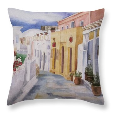 Throw Pillow featuring the painting Santorini Cloudy Day by Teresa Beyer