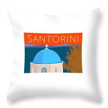 Throw Pillow featuring the digital art Santorini Dome - Orange by Sam Brennan