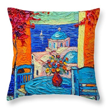 Santorini Dream Greece Contemporary Impressionist Palette Knife Oil Painting By Ana Maria Edulescu Throw Pillow