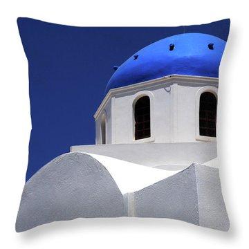 Santorini Greece Architectual Line 2 Throw Pillow by Bob Christopher