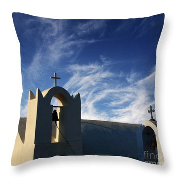 Throw Pillow featuring the photograph Santorini Greece Architectual Line 3 by Bob Christopher