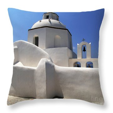 Throw Pillow featuring the photograph Santorini Greece Architectual Line 4 by Bob Christopher