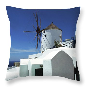 Throw Pillow featuring the photograph Santorini Greece Architectual Line 5 by Bob Christopher