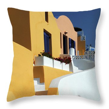 Throw Pillow featuring the photograph Santorini Greece Architectual Line by Bob Christopher