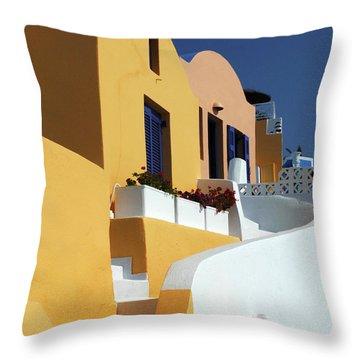 Santorini Greece Architectual Line Throw Pillow by Bob Christopher