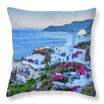 Santorini Greece Dwp416136  Throw Pillow