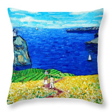 Santorini Honeymoon Throw Pillow by Ana Maria Edulescu