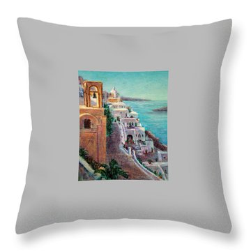 Hotels Of Santorini Throw Pillow by Jill Musser