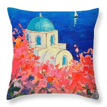 Santorini Impression - Full Bloom In Santorini Greece Throw Pillow