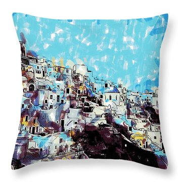 Santorini Island Throw Pillow