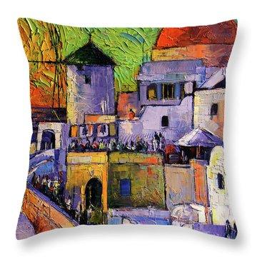 Santorini Oia Village Impressionist Palette Knives Oil Painting Throw Pillow