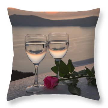 Santorini Romance Throw Pillow