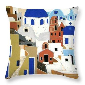 Santorini Throw Pillow by Stephanie Moore