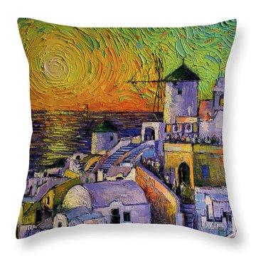 Santorini Sundown Throw Pillow