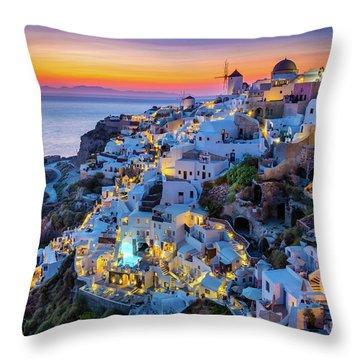 Santorini Sunset Throw Pillow