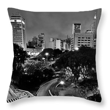 Sao Paulo Downtown At Night In Black And White - Correio Square Throw Pillow