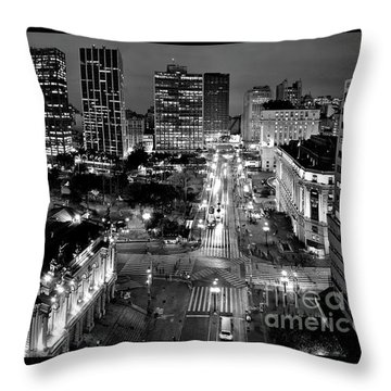 Sao Paulo Downtown - Viaduto Do Cha And Around Throw Pillow
