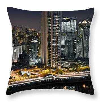 Sao Paulo Iconic Skyline - Cable-stayed Bridge  Throw Pillow