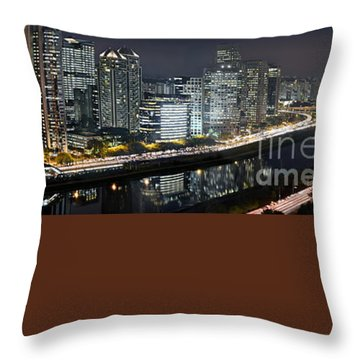 Sao Paulo Iconic Skyline - Cable-stayed Bridge  Throw Pillow