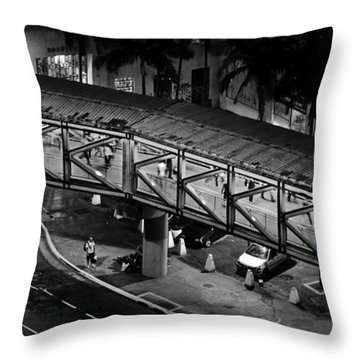 Sao Paulo - Metallic Footbridge At Night Throw Pillow